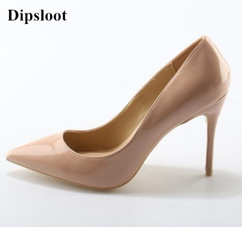 Factory Price High Heels Dress Wedding Brand Shoes Lady Pointed Toe Woman Pumps Slip-on Classical Design Patent Leather Shoes fashion brand name women high heels shoes patent leather pointed toe slip on footwear chunky heel party wedding lady pumps nude