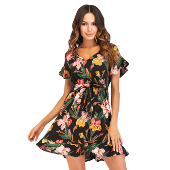 Anself Summer Bohemian Dress Printed Chiffon Dress 2018 V-Neck Short Sleeve Casual Mini Short Dress Boho Beach Dresses Sundress Платье