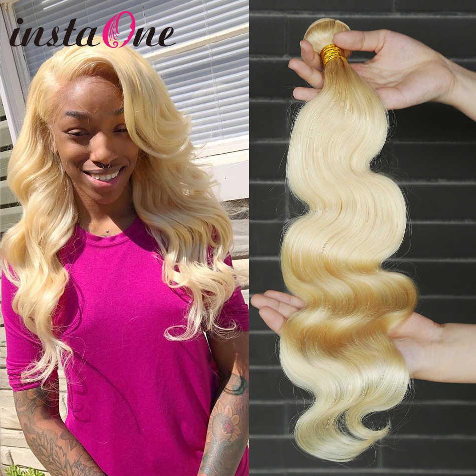 Instaone волос бразильские натуральные накладные волосы Virgin (не подвергавшиеся химическому воздействию) утка 1/3/4 шт #613 длинные светлые человеческие волосы пучки волнистых волос