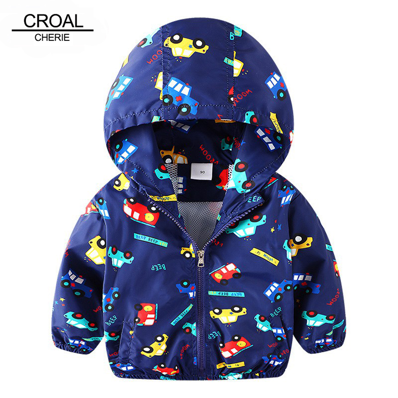 CROAL CHERIE 80-130cm Autumn Outerwear Coats Boys Kids Jacket For Girls Cartoon Car Printing 2018 Spring Children Clothing