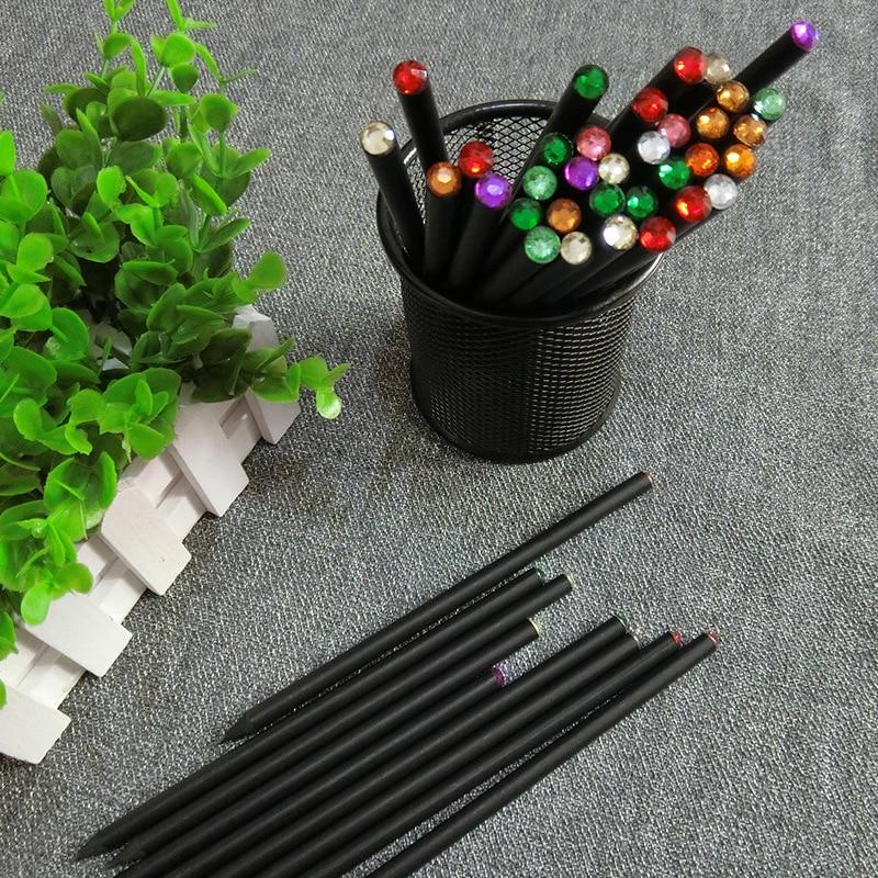 12PCS Black Wood HB Pencil With Colorful Diamond School Pencils Writing Gif A8B2