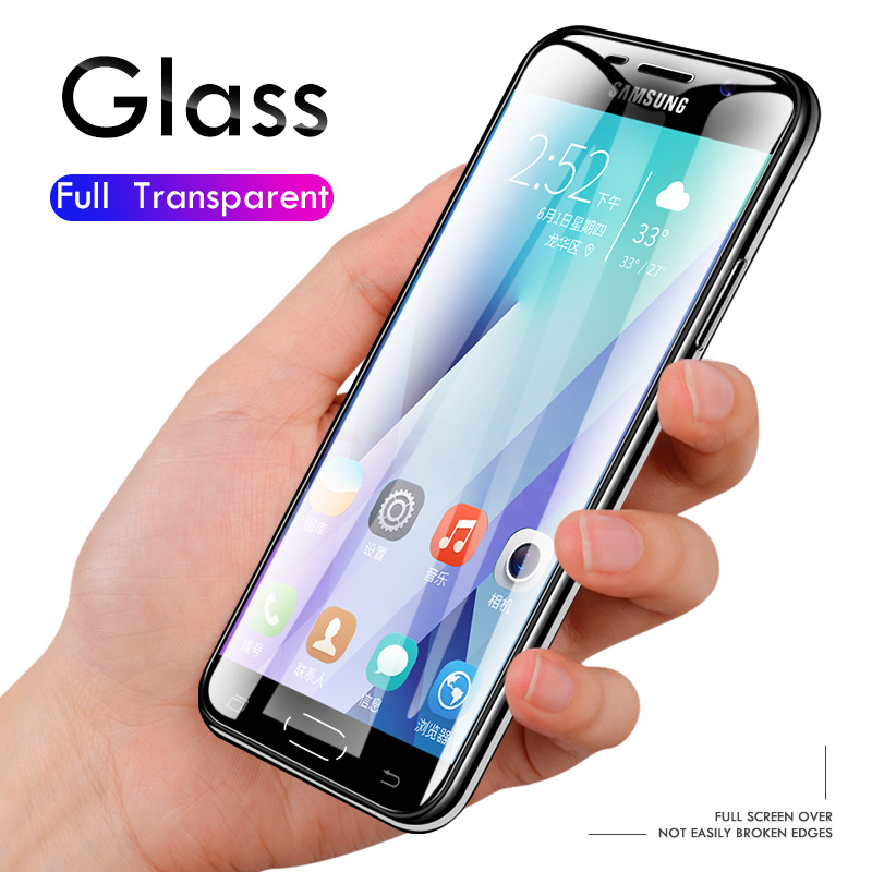 Image 5 - 3Pcs Screen Protector 9H 2.5D Tempered Glass For Samsung Galaxy A7 A9 2018 J6 A6 A8 J4 Plus Protective Glass for Samsung A5 2017-in Phone Screen Protectors from Cellphones & Telecommunications