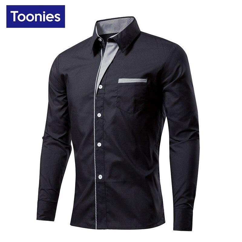 Plus Size Cotton Men Slim Shirt Long Sleeve Mens Dress Shirts Fashion Casual Man Camisa Business Brand Social Camisa Masculina