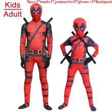 Children Adult Halloween Deadpool Cosplay Costume Kids Jumpsuit Tight Superhere Zentai bodysuit