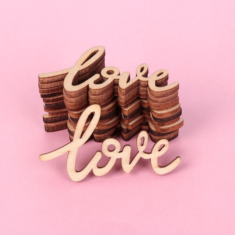 18 sztuk rustykalne drewniane listy miłosne sfatygowany szykowny Craft 55mm księga gości konfetti ślub walentynki rocznica dekoracja stołu
