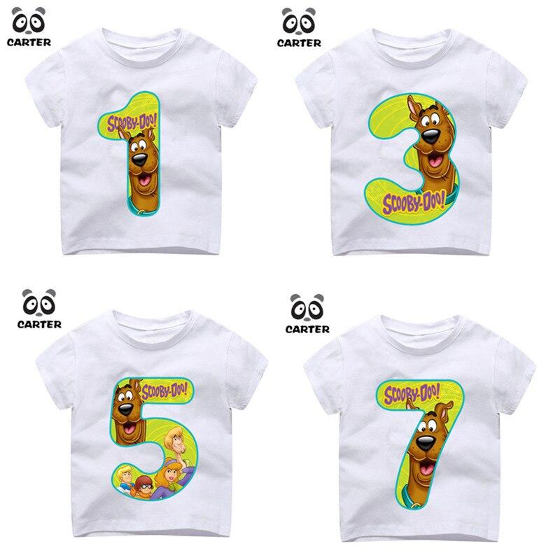 202c26986 Kid s Número 1 ~ 9th Scooby Doo Cão Bonito Dos Desenhos Animados Imprimir  T-shirt Menino e Menina Tshirt Aniversário Do Aniversário Do Bebê crianças  Roupas ...