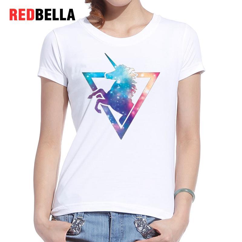 REDBELLA T shirt font b Women b font 2017 Print Pony Horse Unicorns Novel Cool Tops