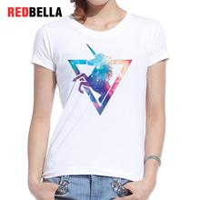 REDBELLA T-shirt Women 2017 Print Pony Horse Unicorns Novel Cool Tops Feminino Casual Short Sleeve White T Shirt Femme Clothing