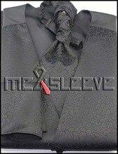new arrive formal wear black swirl  waistcoat (vest+ascot tie+cufflinks+handkerchief)