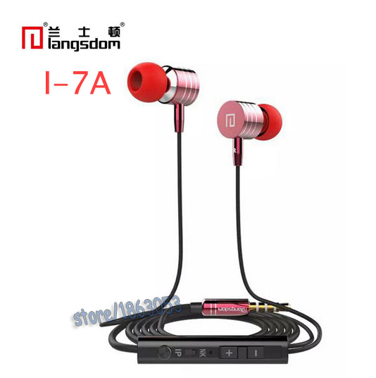Langsdom I-7 Metal Stereo Bass in-ear earphone Headphone Headset With Mic for huawei iphone 7/7S Samsung Xiaomi I-7 langsdom a10 super bass in ear earphone hifi music earplugs metal headset with mic general for phone iphone xiaomi sony pc mp3