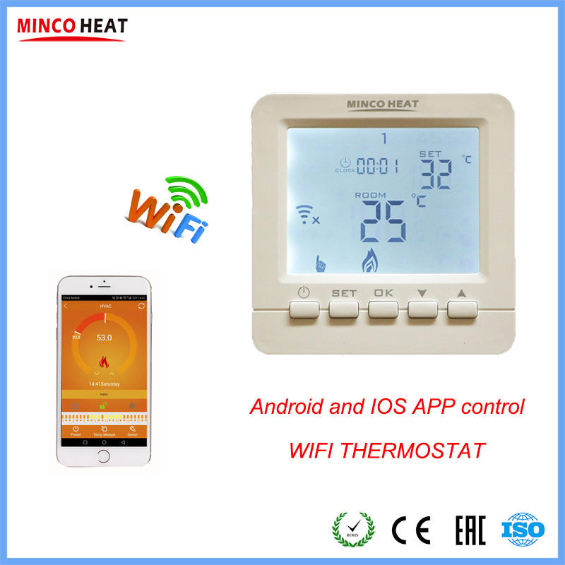 230V 16A Andriod, Iphone APP Control Temperature Controller Room WIFI Thermostat For Electric Or Water Heating System