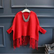 Xmas Junior Knit Tassel Sweaters Teenager Batwing Sleeve Casual Jumper Pullover 2016 Babies Autumn Winter Clothing