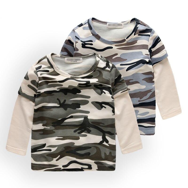 df0847b1ad Angeltree Camouflage Boys Hosszú ujjú póló pamut Gyerekeknek ...