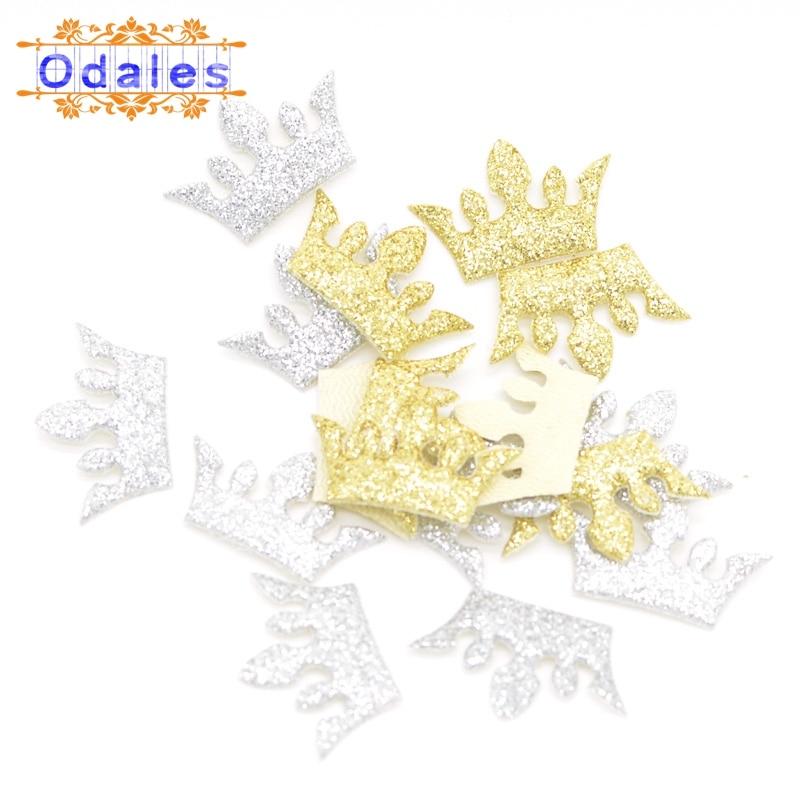 120Pcs DIY Children Glitter Gold&Silver Crown Patches Headwear Accessories Headwear Decoration Padded Powder Appliques Supplies