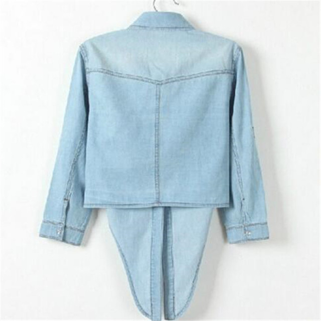 Casual Cropped sleeves Shirt female Denim Shirts women's Fashion Short Blouse Girls Top 3
