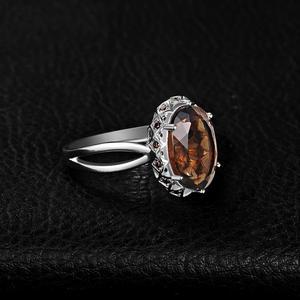 Image 3 - JewelryPalace grande anillo de cuarzo ahumado genuino 925 anillos de plata esterlina para mujeres anillo de compromiso plata 925 joyas de piedras preciosas