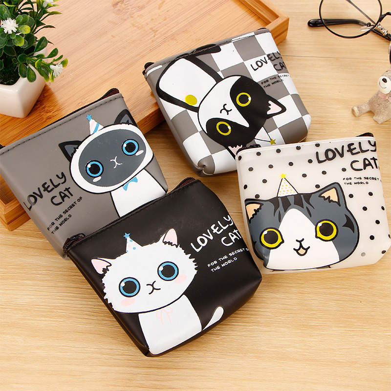 PACGOTH Japanese and Korean Style PU Leather Coin Purse Square Kawaii Cat Animal Prints Unisex Coin Money Wallets & Holders 1 PC женские брюки other japanese and korean brands