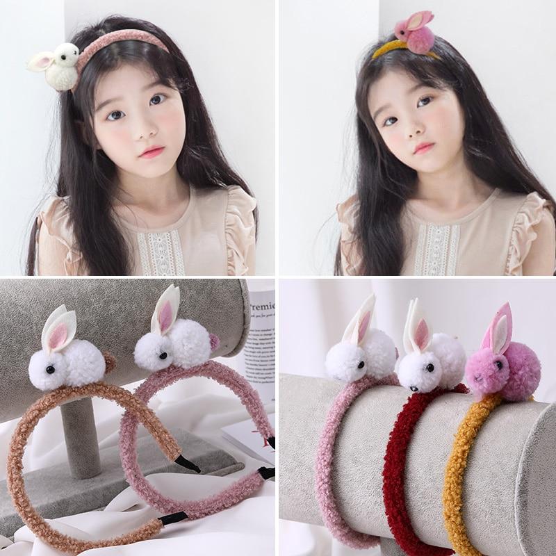 New Fashion Girls Cute Rabbit Plush Hairbands Princess Lovely Headbands Hair Ornament Children   Headwear   Kids Hair Accessories