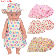 Doll Talk Doll Dress Fit For American 18inch Girl Doll Clothes For 43cm Baby Doll Reborn Babies Clothes Dress+Hat Set