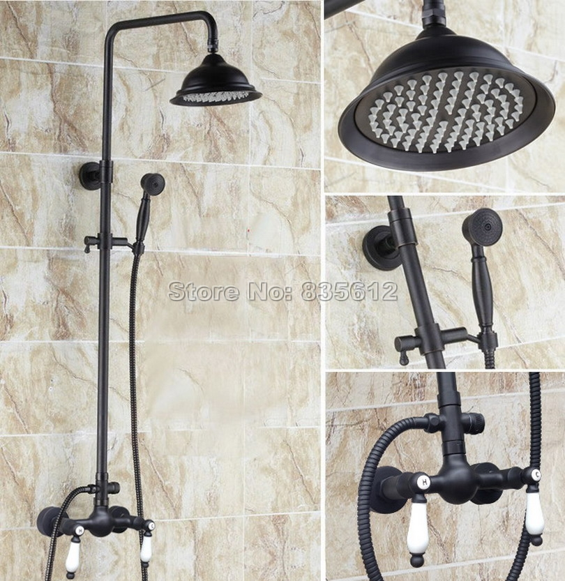 Black Oil Rubbed Bronze Bathroom Rain Shower Faucet Set with Hand Spray & Wall Mounted Dual Ceramic Handles Mixer Taps Wrs472