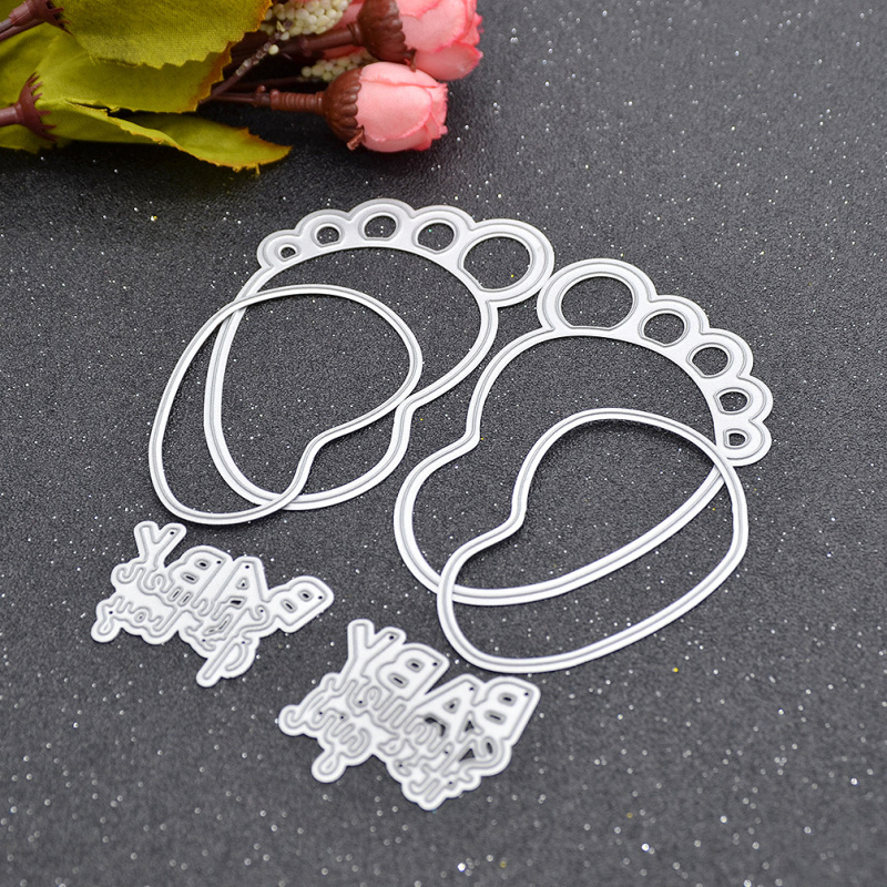 1 set metal feet circle letters embossing cutting dies stencil for diy scrapbooking album paper card