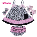Fashion Baby Girls Clothing Baby Infant Swing Top Set Swing Ruffle Outfits Bloomer Headband Newborn Girl Clothes Sets