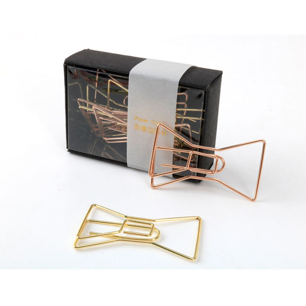 8 Pieces/lot Gift Rose Gold Paper Clip Bookmark Creative Cute Diamond Bowknot Paperclip For Notebook Planner Office Stationery