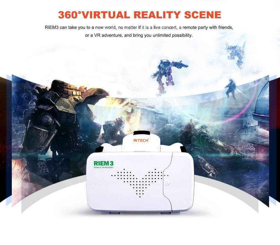 New Ritech III 3D VR Glasses RIEM3 Virtual Reality Head Mount Google Cardboard Oculus Rift DK2 Box for 4.0 ~ 6.0 Inch SmartPhone