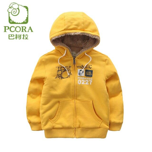 Pcora/Обувь для мальчиков Толстовки свитшоты на молнии зимняя куртка для мальчиков детская флисовая желтая детская пот мальчик пальто Дети США Размеры От 3 до 14 лет