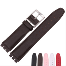 17MM  For Swatch Watchband Soft Genuine Leather Retro Classic Clasp Buckle Double Notched Watch Band Strap