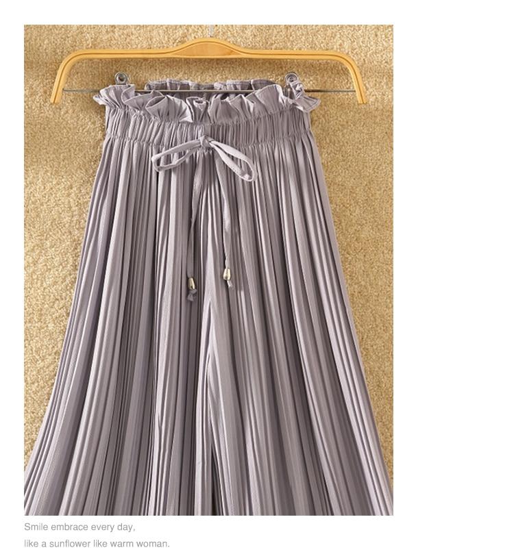 Ruffle Trousers for Women High Waist Wide Leg Chiffon Loose Pants Female Casual Large Sizes Clothes Korean Autumn 9