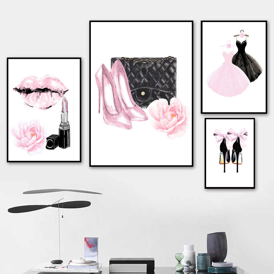 Wall Art Canvas Painting Pink Lady Dress High Heel Perfume Nordic Poster And Print Watercolor Wall Pictures For Living Room Girl
