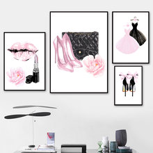 Wall Art Canvas Painting Pink Lady Dress High Heel Perfume Nordic Poster And Print Watercolor Wall Pictures For Living Room Girl(China)