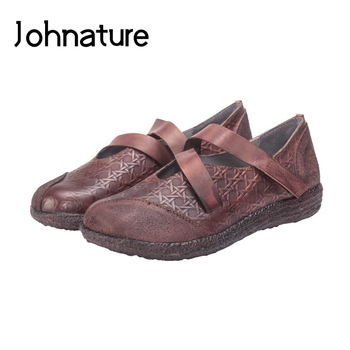 Johnature 2020 New Spring/Autumn Genuine Leather Loafers Hook & Loop Casual Round Toe Retro Cross-tied Shallow Flat Women Shoes