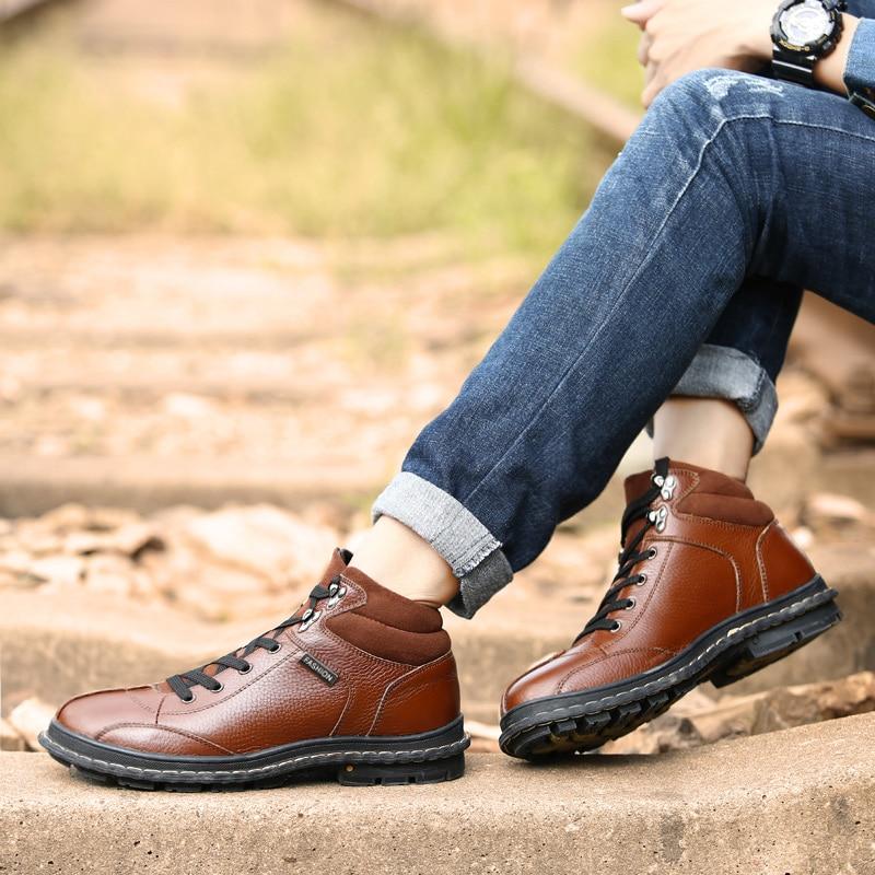 Masculino Mão Black Calçados Genuíno Quente Botas De À Pelúcia brown Feito Inverno Casuais Couro Grande Sapatos Homens Tamanho 2017 Clax Neve Pele 7qgzfz