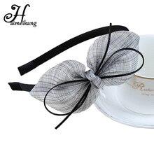 Haimeikang чистая Пряжа Кружево бантом широкий обруч для волос Банданы для мужчин для Для женщин Обувь для девочек Женские аксессуары для волос модные луки Hairband Головные уборы