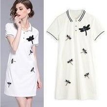 89be74a68 Las mujeres británico estilo Preppy camisetas vestidos de verano aves  apliques de lentejuelas de Deportes de manga corta