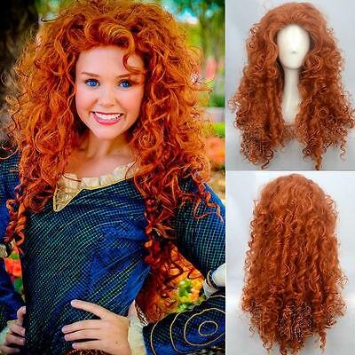 free p p fashion brave merida costume wig curly wavy orange hair