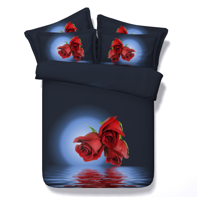 3D Red Rose Bedding sets bedspread duvet cover bed sheet spread Roses department store California King queen size full twin doub
