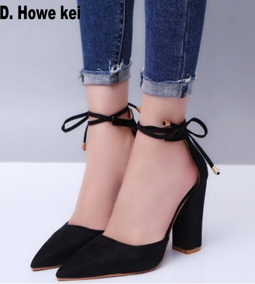 8989b6ab234 D. Howe kei 6 Colors Pointed Strappy Pumps Sexy Retro High Thick Heels  Shoes 2108