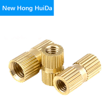 цена на M2.5 Brass Knurled Nut Thread Double Pass Metric Round Copper Insert Nut Injection Moulding Nutserts Embedded Fastener (ID*H*OD)