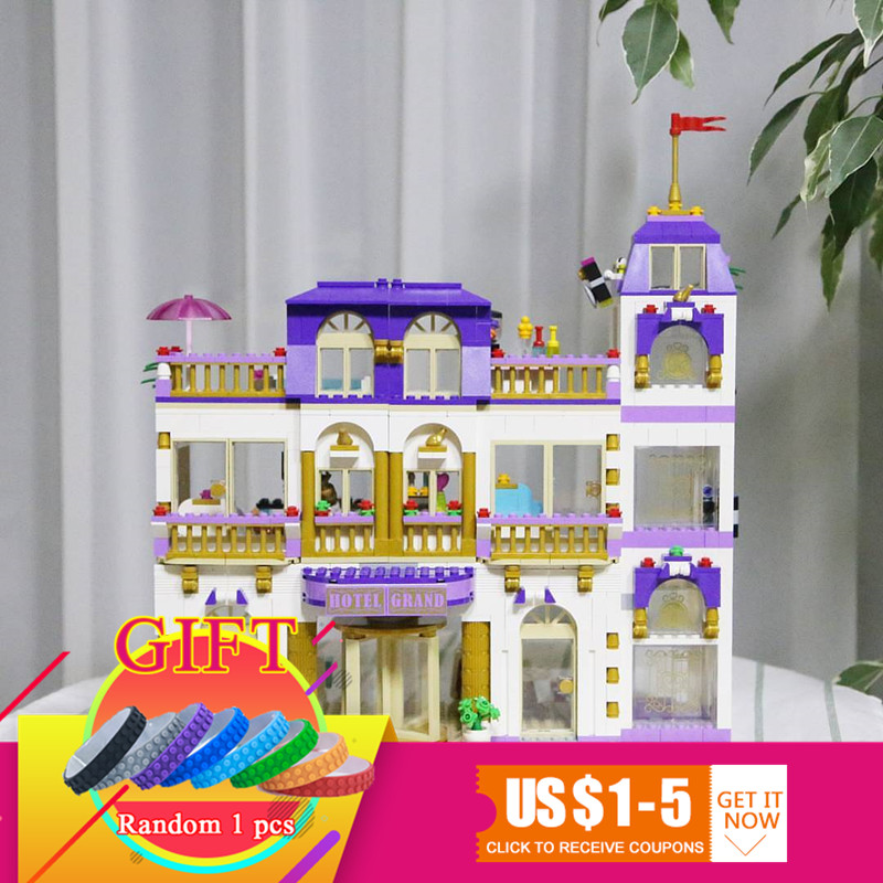 01045 1676Pcs Building Blocks The Heartlake Grand Hotel Compatible 41101 Girl Friend Series Bricks toys for girl 1676pcs friends heartlake grand hotel building blocks bricks girls toys compatible with legoingly 41101 for children gifts