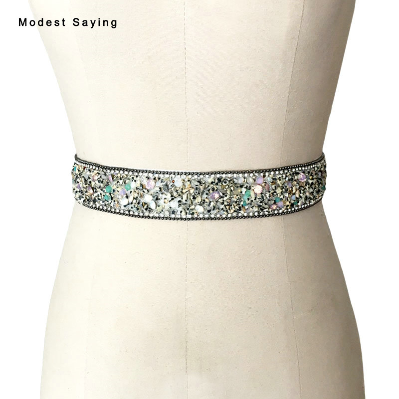 Luxury Leopard 3.5 Rhinestone Chain Bridal Belts 2017 Beaded Crystal Wedding Sashes for robe de cocktail Wedding Accessories S29