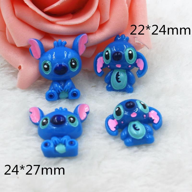 10 Pcs/lot Hot Sale Cartoon DIY Resin Patch Lilo & Stitch Figurine Crafts Toy Hair Storage Box Accessories Kids Craft Toys