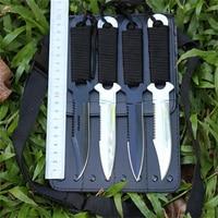 4 pçs/lote em aço inoxidável lâmina fixa tático faca ao ar livre faca de caça mergulho Survival Camping faca Navajas Coltelli