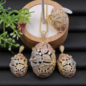 Image 2 - Lanyika Jewelry Set Super Luxury Big Flower Ball Micro Plated Necklace with Earrings and Ring for Engagement Trendy Gift