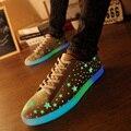 Новый 2017 Большой Размер 36-44 USB LED Свет Муёской обуви светящиеся Сид Способа Повседневная Обувь Взрослых Lumineuse Пару Ботинок квартир 55