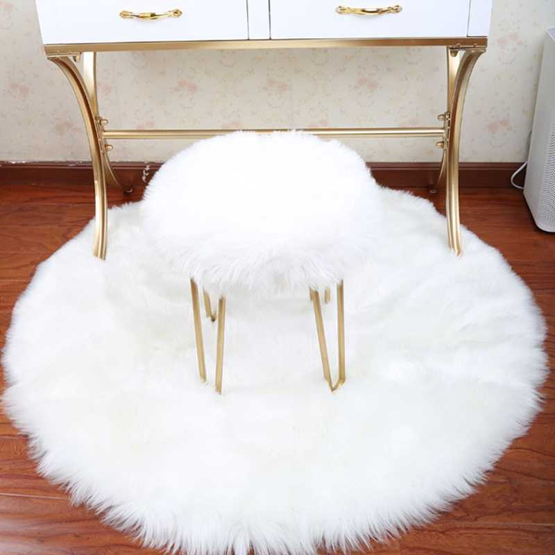 30*30CM Soft Artificial Sheepskin Rug Chair Cover Bedroom Mat Artificial Wool Warm Hairy Carpet Seat Fur Area Rugs