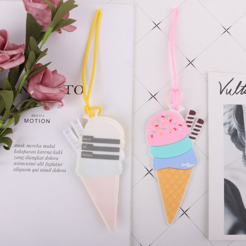 Creative Silicone Ice Cream Luggage Tag Label Strap Suitcase Name ID Address Tags For Travel