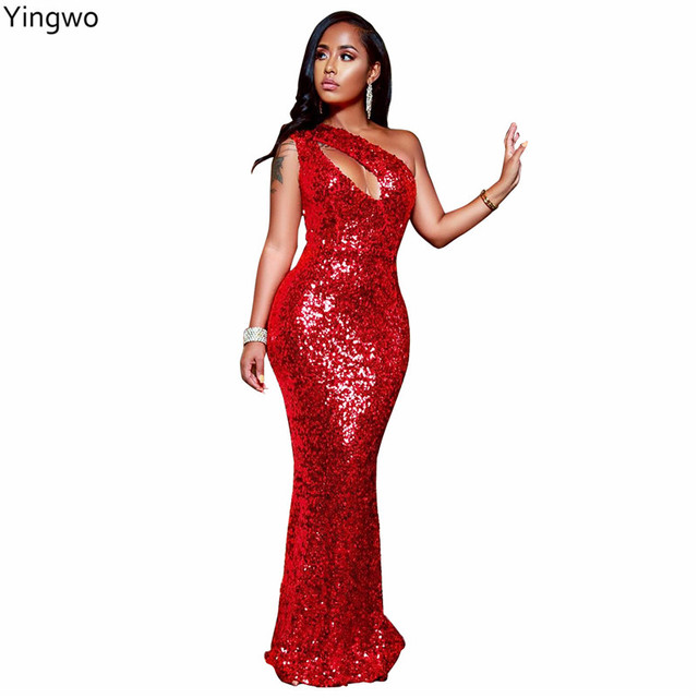0aed381b8a3 Red Sequined One-Shoulder Sleeve Maxi Dress Hot Sexy Night Out Club Party  Wear Open Bust Ankle-length Dresses Wholesale Online